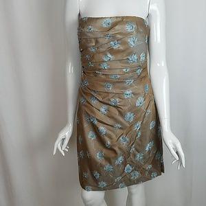 Carmen Marc Valvo Beaded Strapless Dress